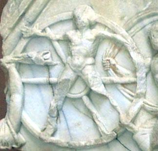 """""""Issione legato alla ruota di fuoco"""", dettaglio di un bassorilievo da Side (Turchia). [Foto di Marco Prins]"""