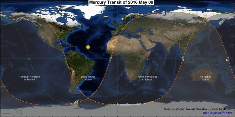 Mappa del Transito di Mercurio