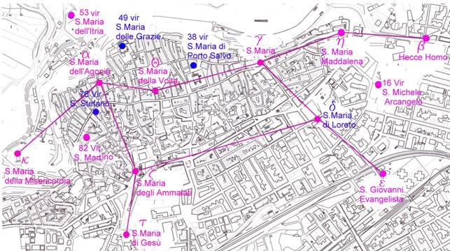 le chiese della citta' di Randazzo con la costellazione della vergine
