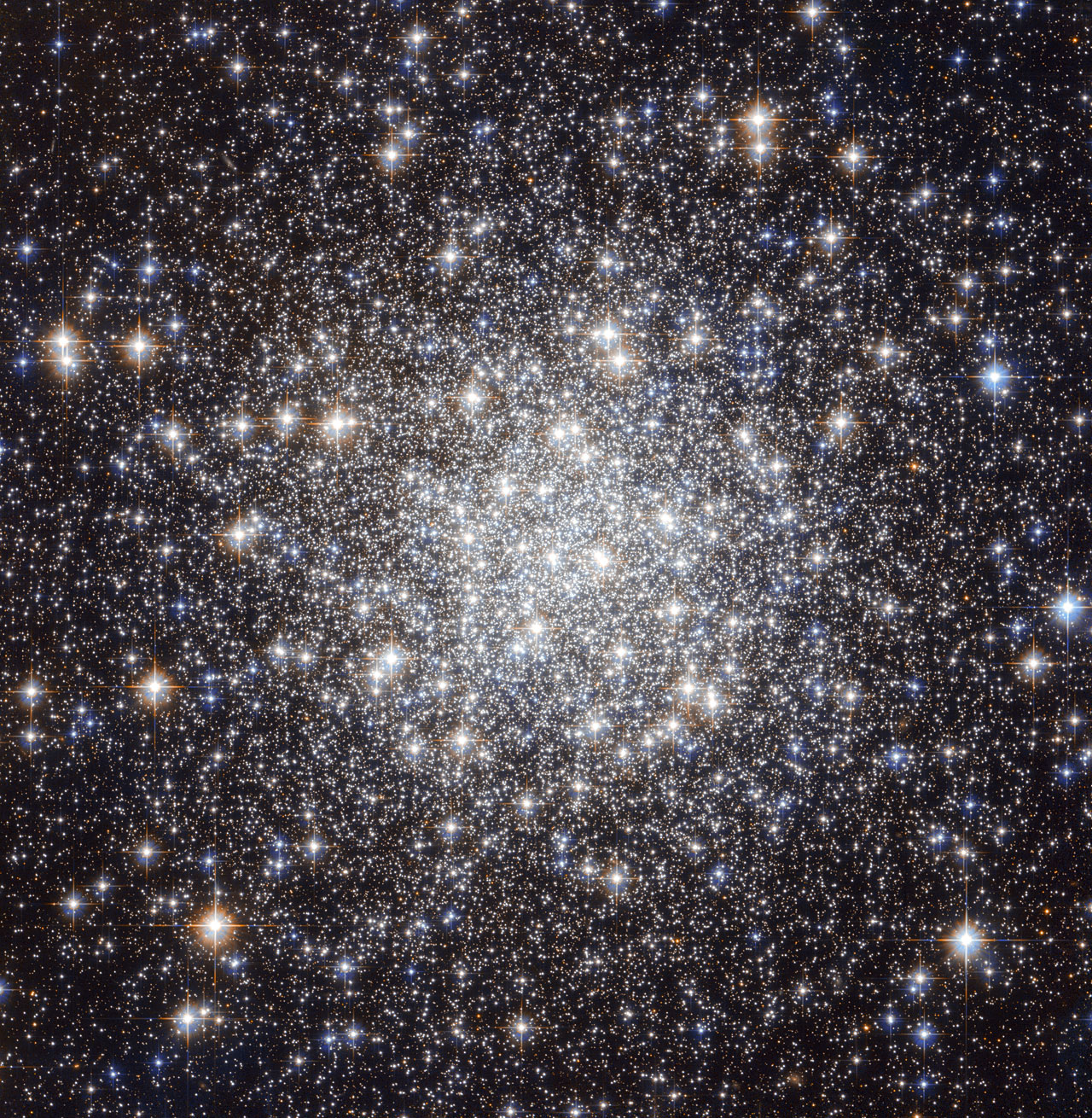 """The  NASA/ESA Hubble Space Telescope has produced this beautiful image of  the globular cluster Messier 56 (also known as M 56 or NGC 6779), which  is located about 33 000 light years away from the Earth in the  constellation of Lyra (The Lyre). The cluster is composed of a large  number of stars, tightly bound to each other by gravity. However,  this was not known when Charles Messier first observed it in January  1779. He described Messier 56 as """"a nebula without stars"""", like most  globular clusters that he discovered — his telescope was not powerful  enough to individually resolve any of the stars visible here, making it  look like a fuzzy ball through his telescope's eyepiece. We clearly see  from Hubble's image how the development of technology over the years has  helped our understanding of astronomical objects. Astronomers  typically infer important properties of globular clusters by looking at  the light of their constituent stars. But they have to be very careful  when they observe objects like Messier 56, which is located close to the  Galactic plane. This region is crowded by """"field-stars"""", in other  words, stars in the Milky Way that happen to lie in the same direction  but do not belong to the cluster. These objects can contaminate the  light, and hence undermine the conclusions reached by astronomers.  A  tool often used by scientists for studying stellar clusters is the  colour-magnitude (or Hertzsprung-Russell) diagram. This chart compares  the brightness and colour of stars – which in turn, tells scientists  what the surface temperature of a star is. By  comparing high quality observations taken with the Hubble Space  Telescope with results from the standard theory of stellar evolution,  astronomers can characterise the properties of a cluster. In the case of  Messier 56, this includes its age, which at 13 billion years is  approximately three times the age of the Sun. Furthermore, they have  also been able to study the chemical"""