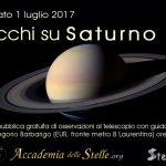 La locandina della nostra manifestazione ha giustamente reso omaggio all'associazione che ha ideato e promosso Occhi su Saturno, l'Associazione  Stellaria.  È stata copertina della nostra pagina Facebook: https://www.facebook.com/accademia.dellestelle/photos/655621014633305