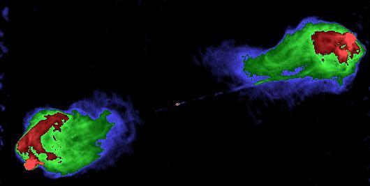 """Gli spettacolari """"radiolobi"""" dalla galassia attiva Cygnus A. Hanno un'estensione 1000 volte maggiore della galassia che li ha generati."""