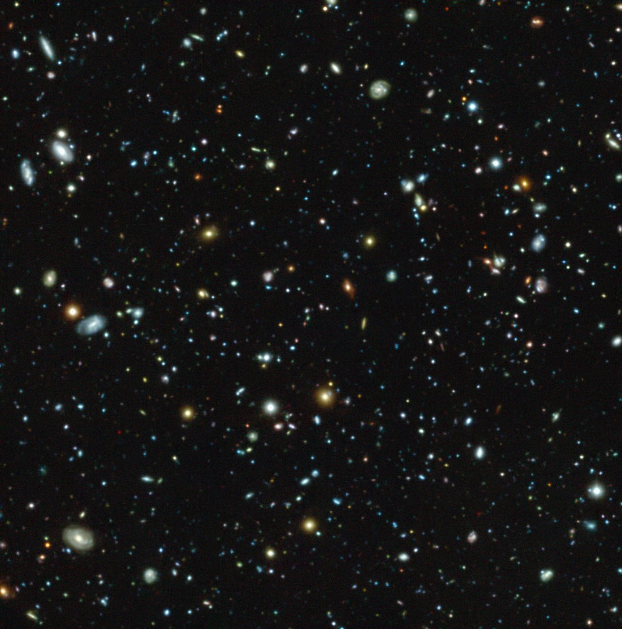 This colour image shows the Hubble Ultra Deep Field region, a tiny but much-studied region in the constellation of Fornax, as observed with the MUSE instrument on ESO's Very Large Telescope. But this picture only gives a very partial view of the riches of the MUSE data, which also provide a spectrum for each pixel in the picture. This data set has allowed astronomers not only to measure distances for far more of these galaxies than before — a total of 1600 — but also to find out much more about each of them. Surprisingly 72 new galaxies were found that had eluded deep imaging with the NASA/ESA Hubble Space Telescope.