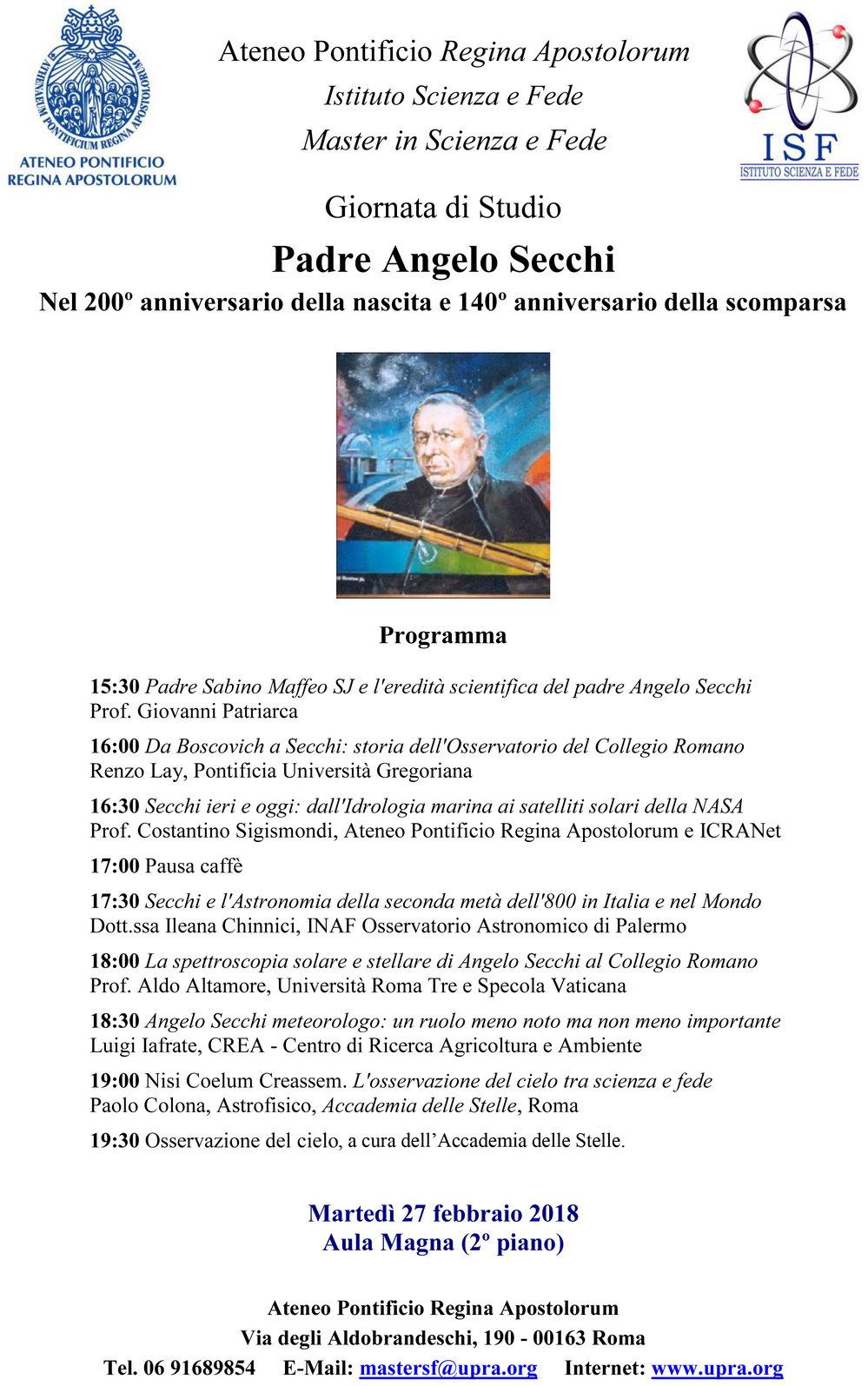 Commemorazione Angelo Secchi