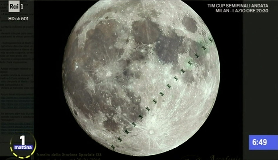 Transito ISS Luna Unomattina