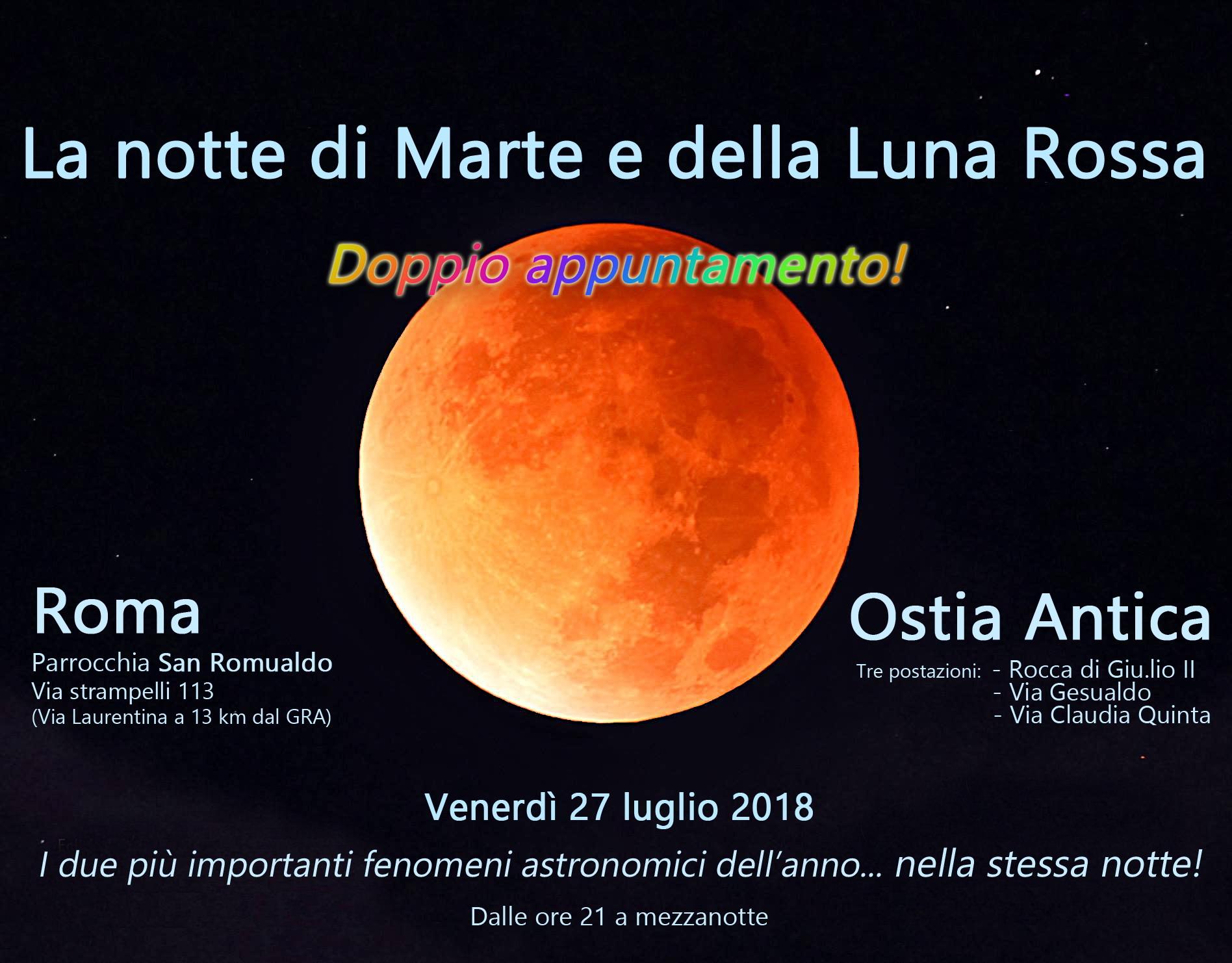 Locandina degli eventi a Roma e al Borgo di Ostia Antica per l'Eclissi di Luna e l'Opposizione di Marte