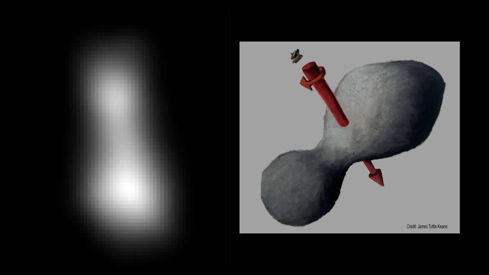La prima immagine dalla quale si è potuta fare una stima accurata delle dimensioni di Ultima Thule:  32x16 km.  Compositazione di due foto prese con il LORRI.