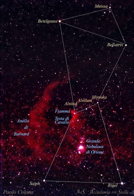 La costellazione di Orione con la Grande Nebulosa M42 e l'Anello di Barnard, ripresa dall'autore del corso da Roma con camera fissa