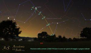 Carta stellare con la posizione della Cometa Swan tra maggio e giugno nel cielo della sera