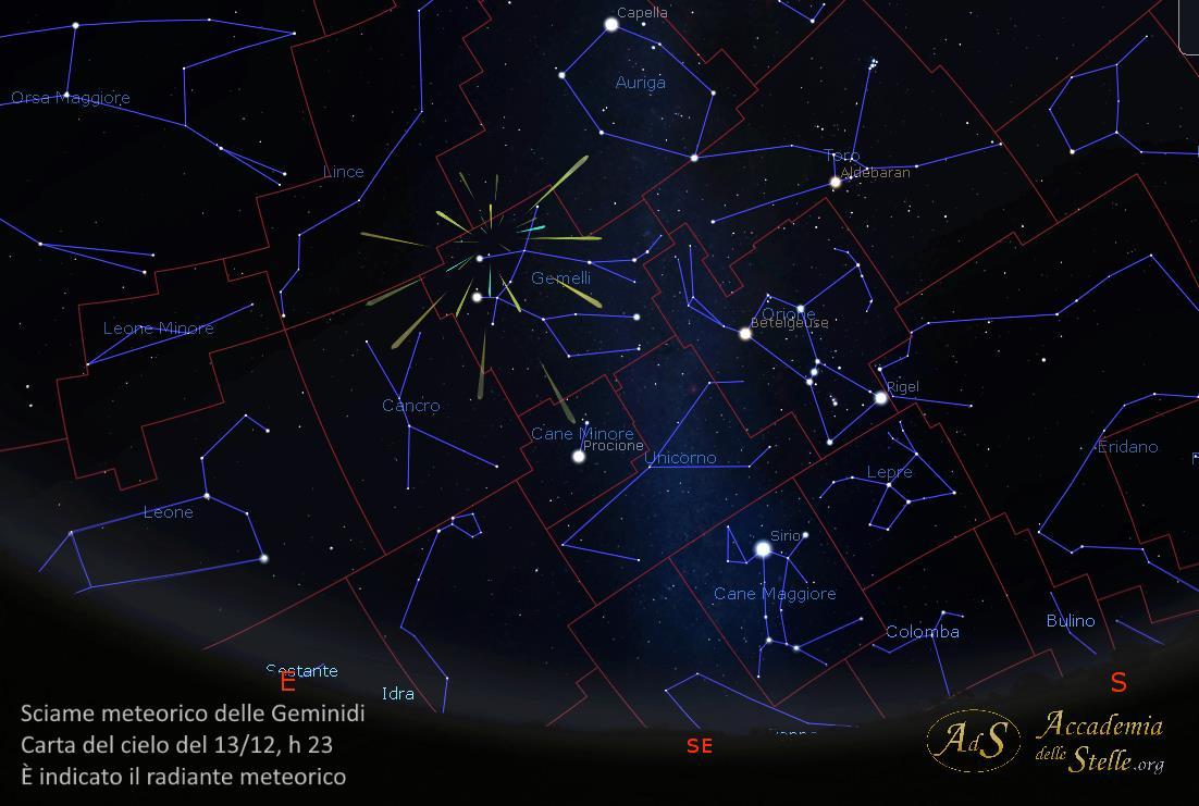 Sciame meteorico delle Geminidi: carta del cielo del 13 e 14 dicembre alle ore 23. È indicato il radiante meteorico, punto dal quale appaiono diramarsi le stelle cadenti.
