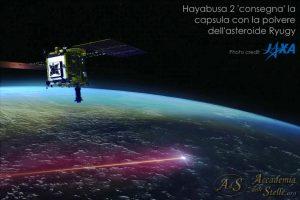 Hayabusa 2 rilascia la capsula contenente il materiale raccolto sull'asteroide Ryugu