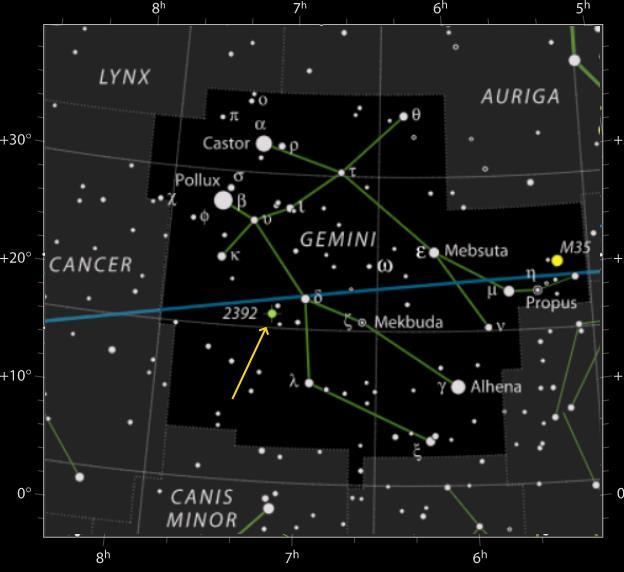 Mappa della costellazione dei Gemelli per identificare la nebulosa planetaria NGC 2392