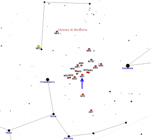 Figura 2 - Localizzazione di M87 tra la Vergine, il Leone e la Chioma di Berenice