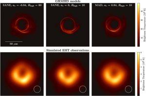 Figura 3 - Confronto tra i modelli GRHMD ed il buco nero in M87