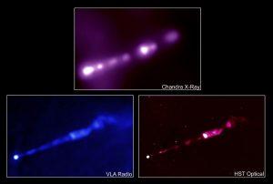 Figura 5 - Getti di materia fuoriuscenti dalla regione attorno al buco nero in M87