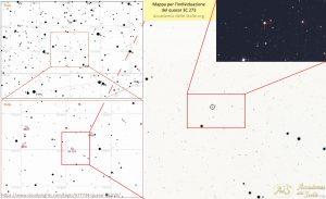 Mappa per individuare il quasar 3C 273 a partire dalle stelle cella costellazione della Vergine