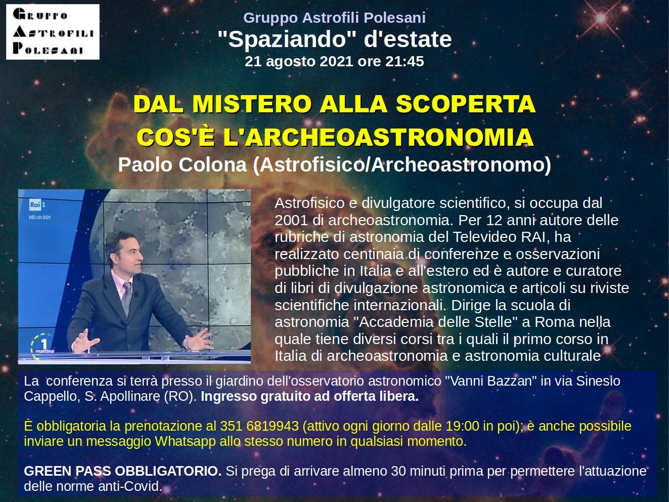 Archeoastronomia: Conferenza a Rovigo