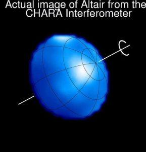 La forma reale della stella Altair fotografata con l'interferometro CHARA: la sua rotazione di appena 8,6 ore, inferiore a quella di qualsiasi pianeta del Sistema Solare
