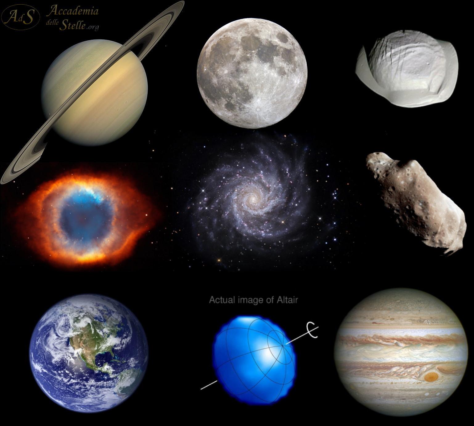 Alcuni astri: Saturno, Luna, Pan (luna di Saturno), nebulosa planetaria Elica, galassia a spirale M74, asteroide Ida, Terra, Altair, Giove.